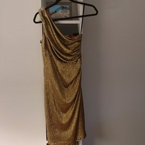 One Shoulder Gold Dress